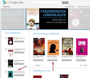 Null Papier Verlag auf Platz 4 bei Google Play Books