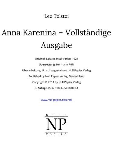 Anna Karenina bei Null Papier
